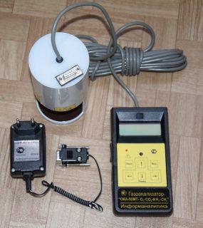 Газоанализатор переносной ОКА-92МТ-CH4-O2-CO-NH3 (кислород, угарный газ, аммиак, метан) с выносным датчиком на кабеле 6 м